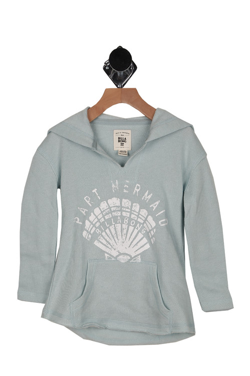 front shows light grey/blue sweatshirt material with slit neckline and Part Mermaid printed at front in white. Also has front pocket.
