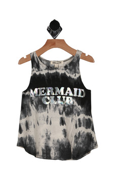front shows Mermaid Club printed at front in iridescent lettering. black and white tie-dye all over with tank sleeves.