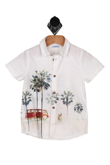 front shows wood button up front with palm trees & VW bus printed at bottom, short sleeves and collar.