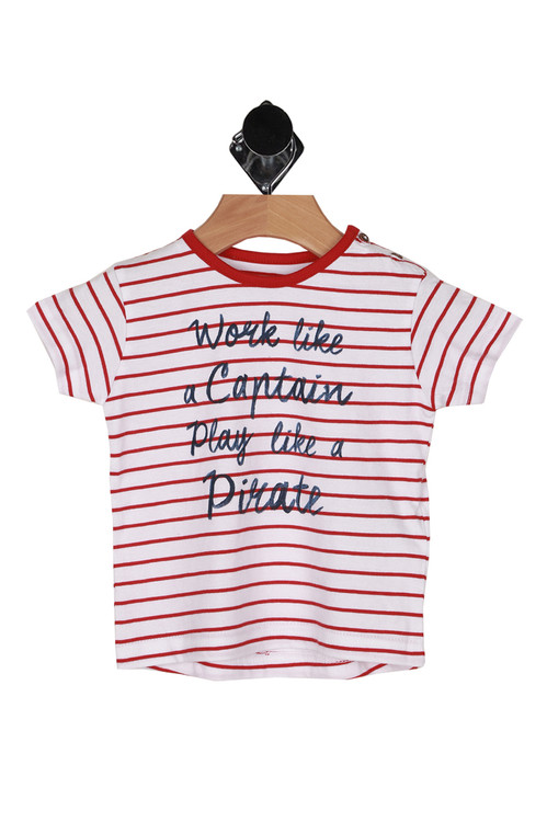 """front shows """"work like a captain play like a pirate"""" written at front, shirt has all over red and white horizontal striping."""