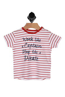 "front shows ""work like a captain play like a pirate"" written at front, shirt has all over red and white horizontal striping."