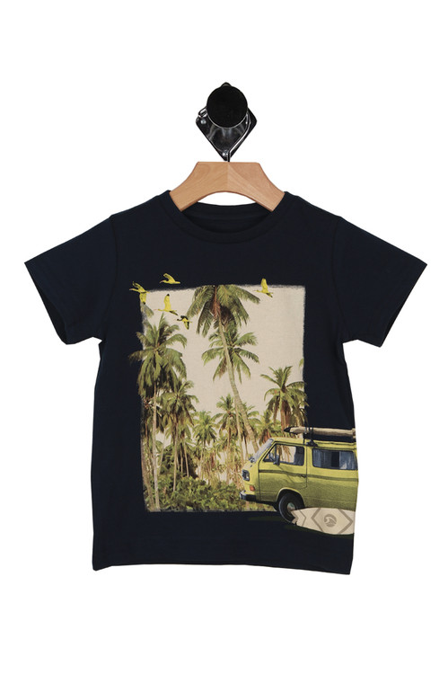 front shows palm trees with VW bus and surfboards printed on navy blue tee with short sleeves