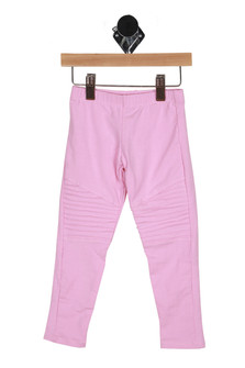 front shows moto-style ridging at knees with skinny leg and elastic ppull-on waistband