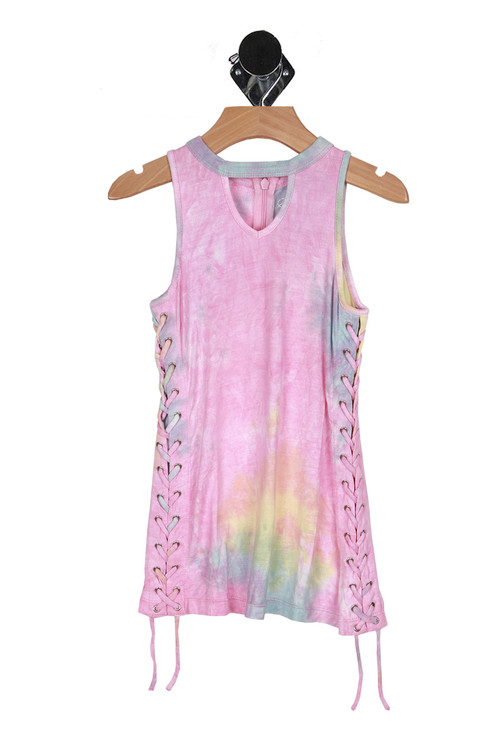front shows v-neckline cut out with pastel tie-dye coloring all over and lace up sides.