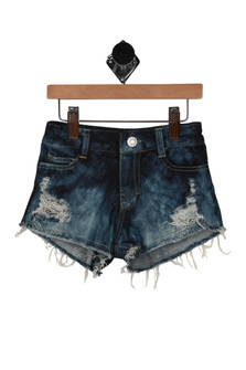 front shows zipper/button fly closure with denim tie-dye coloring and distressing. Unifhsed/frayed hemline