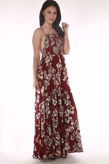 front shows full length maxi dress with burgendy background and white,blue & green flowers all over.