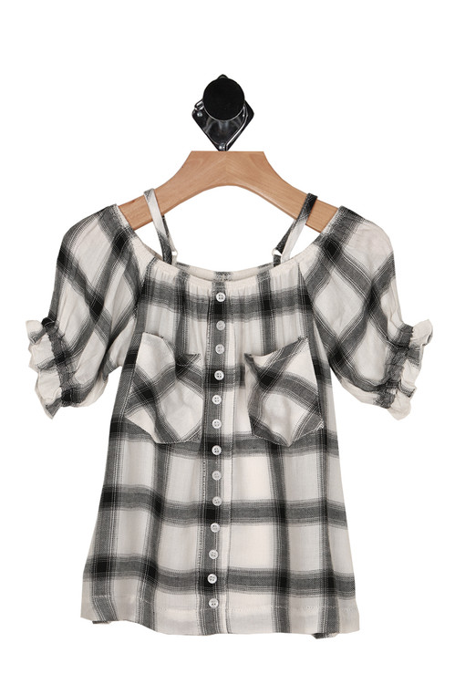 front shows faux button up front with spaghetti straps and off the shoulder sleeves in black and white plaid material