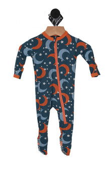 front shows all over moon and star print in blue and orange with front zip up front