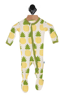 front shows all over pineapple print with front zipper