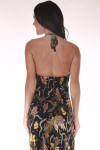 back shows open back with tie at top halter