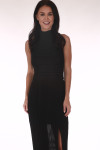 front show high neck in black long chiffon material with side slit and crochet band at waist