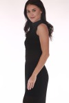 front show high neck in black long chiffon material