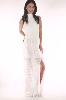 front show high neck in white long chiffon material with side slit and crochet band at waist