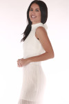 front show high neck in white long chiffon material