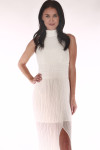 front show high neck in white long chiffon material with side slit and corchet band at waist