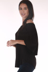 side shows off the shoulder top in all black with 3/4 length sleeves