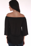 black shows off the shoulder top in all black with 3/4 length sleeves