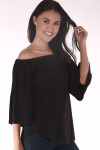 front shows off the shoulder top in all black with 3/4 length sleeves
