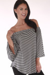 front shows off the shoulder top with vertical black and white stripe print