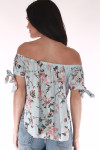back shows off the shoulder look. print is light blue background with pink,orange, yellow and green flowers all over.