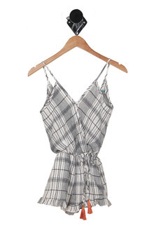 Plaid Surplice Romper (Big Kid)