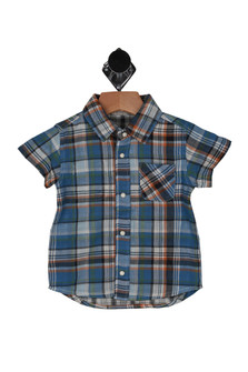 front shows plaid shirt with colors in blue, orange, white and light green and one pocket.