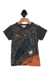 front shows splattered glow in the dark paint to represent a starry sky. rocket and solar system also printed at front.