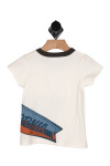 back show white tee with black neckline, snap closure at left shoulder, and half of surfboard design at bottom left printed.