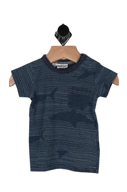 front shows 2-snap closure at top left shoulder with all over stripe and faded shark print.