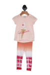 short sleeve top & legging set. Top shows California written in red cursive with ice cream cone in background printed on light pink shirt. Leggings show top orange that blends into white and then into a tie-dye pink bottom.
