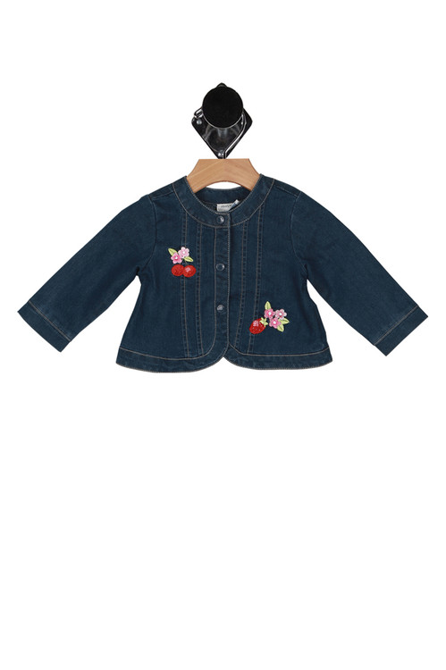 front shows snap up front with flowers embroidered and long sleeves