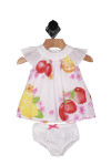 set features a white cap sleeve dress with colorful fruit printed all over. Comes with matching white bloomers
