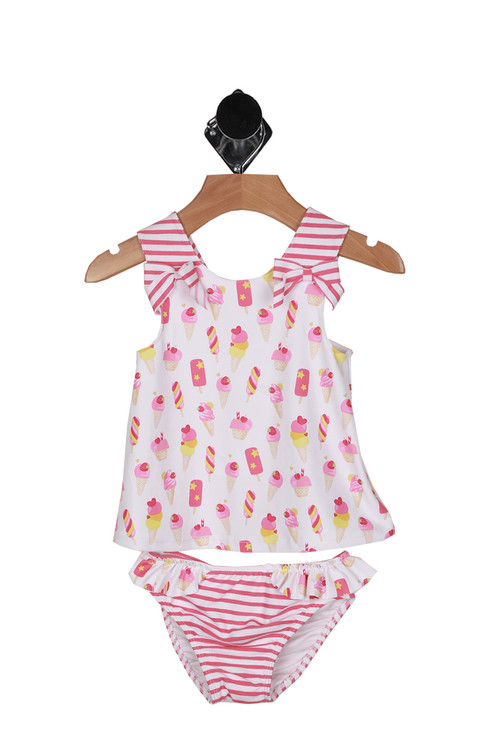 front shows print with white background and pink & yellow popsicles and ice cream cones all over. straps are pink and white striped with matching bottoms.