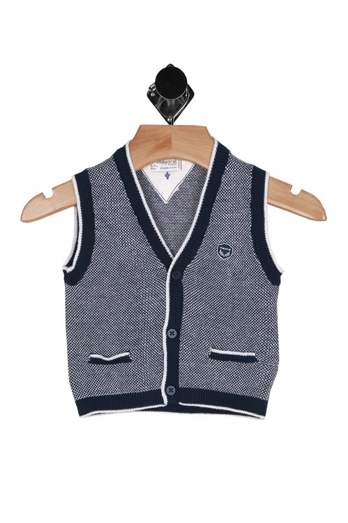 front of vest shows 3 button closure at front with 2 front faux pockets and navy and white coloring all over.