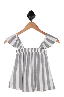 front shows print in vertical white and blue stripes with ruffle tank sleeves and flowier body