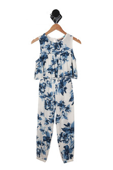 Blue Floral Pant Set w/ Matching Top (Big Kid)