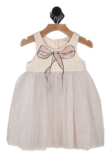 front shows pink sequined bow with tulle & sequin skirt
