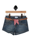 Front shows dark blue denim jean shorts with gold studs going up the pockets. Comes with brown belt  with red and white checkered belt tie.