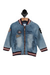 Front shows blue denim jean jacket with pockets, red and white, striped hemlines, and patches.