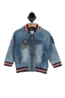 Denim Knit Bomber Jacket (Little Kid)