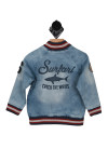 """Back shows light blue denim  jacket with  the words """"Surfari Catch The Waves"""" and red and white hemline."""