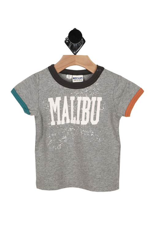 front shows ringer style look with navy hem at neck, orange sleeve hem at left and teel sleeve hem at right. MALIBU written in white lettering at front.