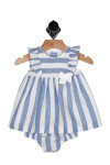 front shows thick light blue and white striped pattern with ruffled cap sleeves and matching light blue and white bloomers.