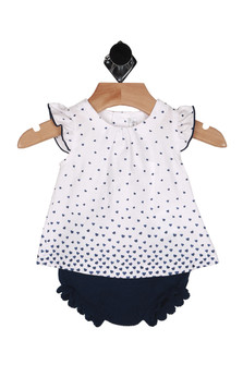 Mini Hearts Blouse w/ Bloomers Set (Infant)