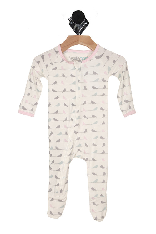 front shows all over grey, teal and pink birds sitting on a wire with zipper that starts at neckline and ends at foot, long sleeves and foot covers.