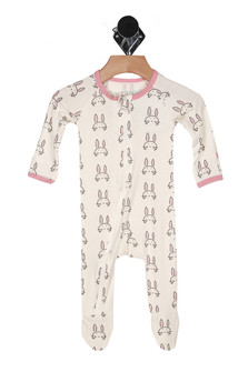 front shows zipper that goes from neckline down to bottom of foot, all over bunny face print, long sleeves and foot covers