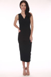 front shows surplice cross front with v-neckline and midi length in black