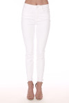 front view shows white ankle length jeans with heavy fraying at bottom hemline with mid rise and 2 front pockets