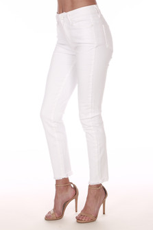 side view shows white ankle length jeans with heavy fraying at bottom hemline with mid rise and front and back pockets.