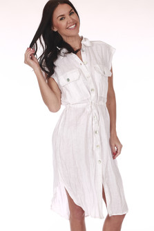 Front: White short sleeve button up shirt dress with waste tie.